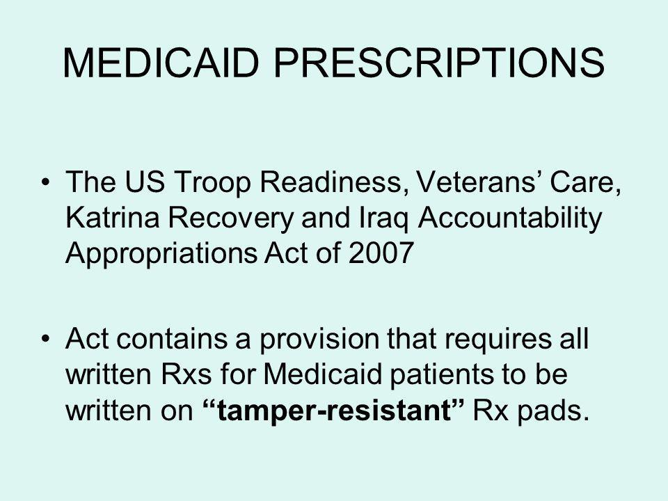 MEDICAID PRESCRIPTIONS