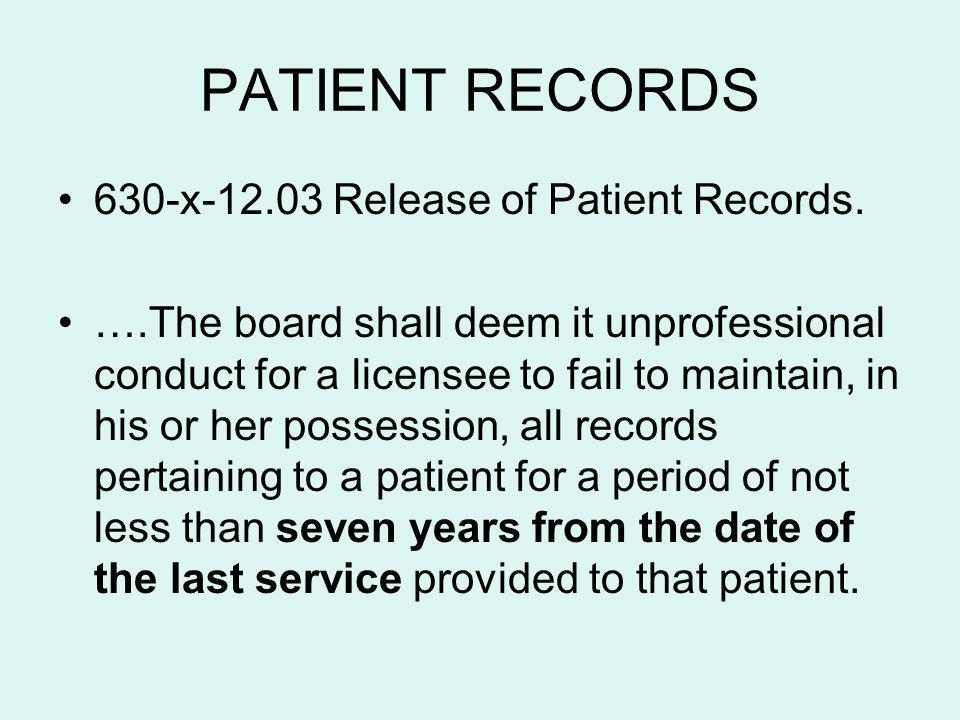 PATIENT RECORDS 630-x-12.03 Release of Patient Records.