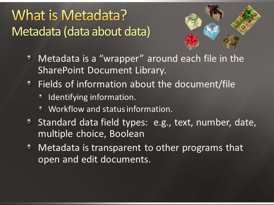 What is Metadata Metadata (data about data)
