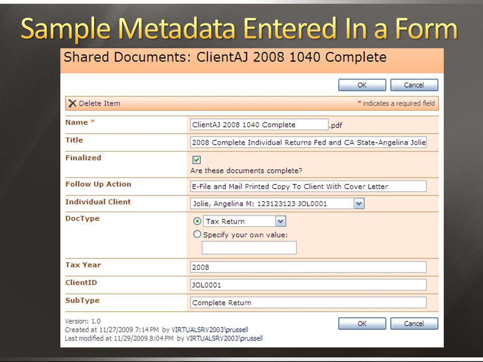 Sample Metadata Entered In a Form