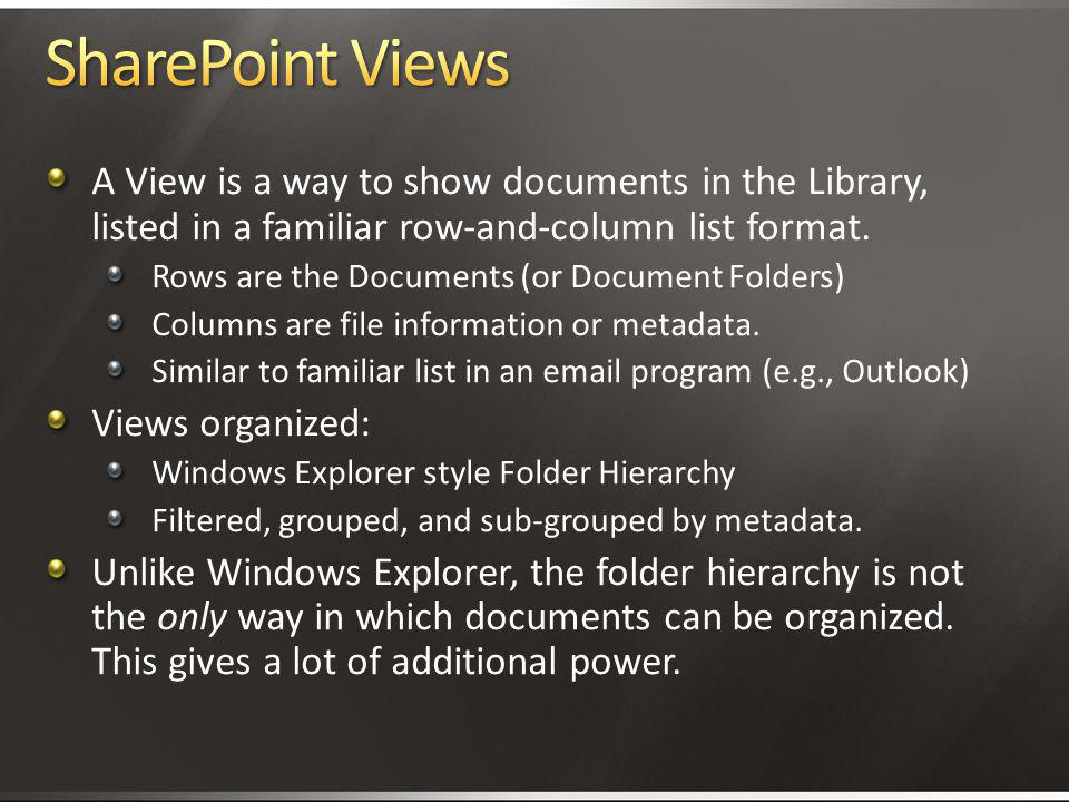 4/2/2017 3:11 AM SharePoint Views. A View is a way to show documents in the Library, listed in a familiar row-and-column list format.