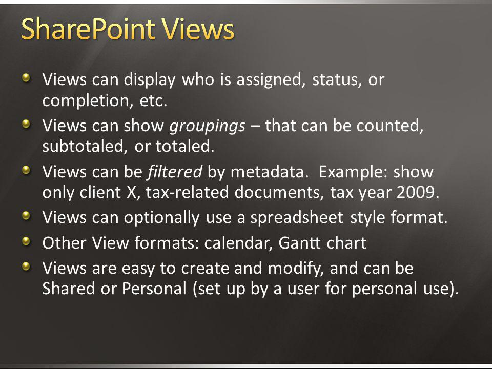 4/2/2017 3:11 AM SharePoint Views. Views can display who is assigned, status, or completion, etc.