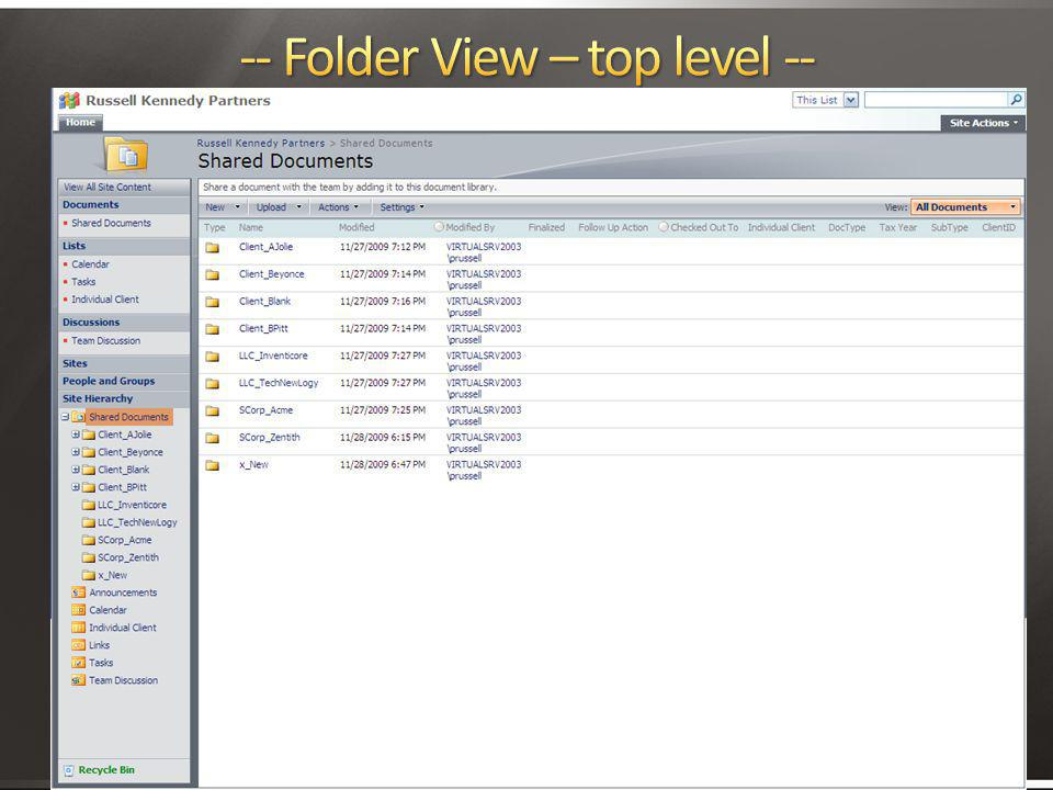 -- Folder View – top level --