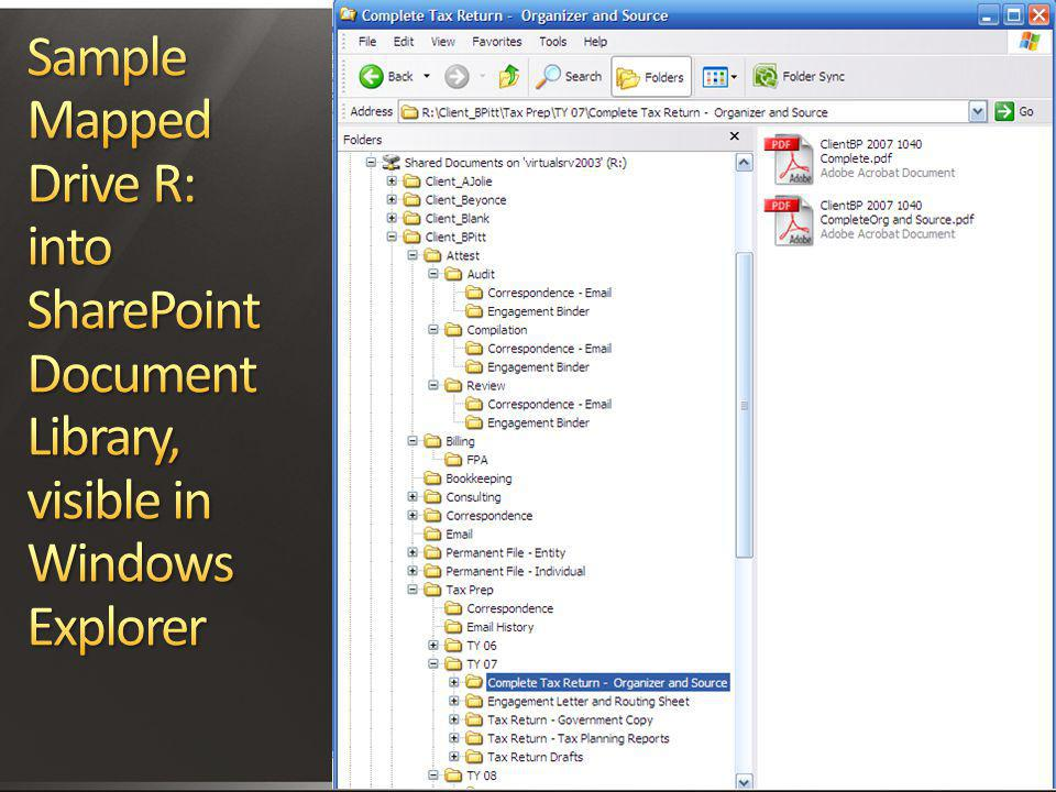 Sample Mapped Drive R: into SharePoint Document Library, visible in Windows Explorer