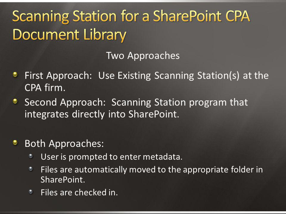 Scanning Station for a SharePoint CPA Document Library