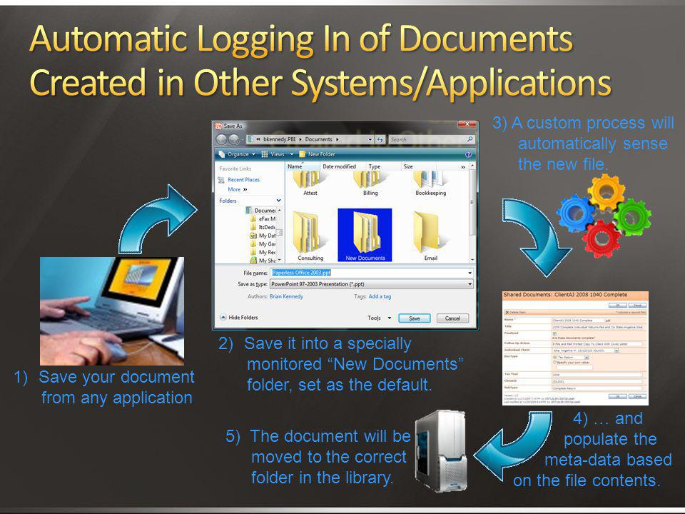 4/2/2017 3:11 AM Automatic Logging In of Documents Created in Other Systems/Applications. 3) A custom process will automatically sense the new file.