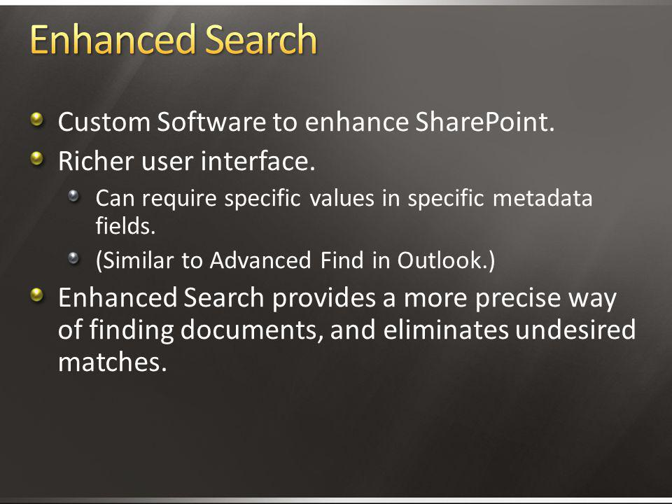 Enhanced Search Custom Software to enhance SharePoint.