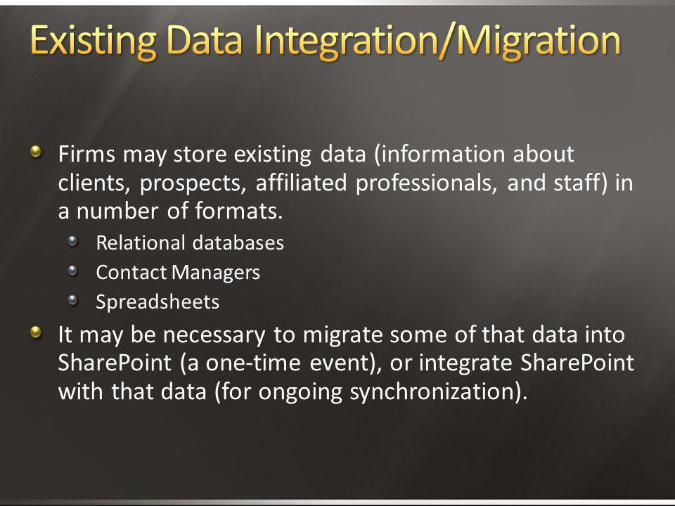 Existing Data Integration/Migration