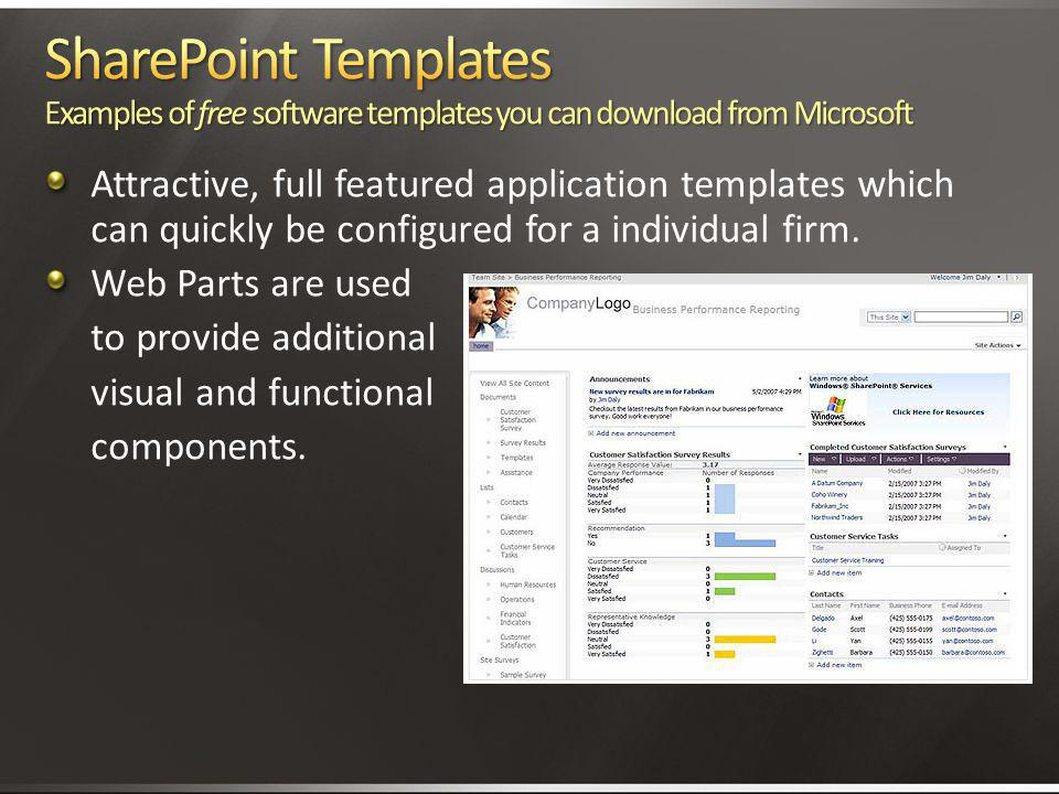 4/2/2017 3:11 AM SharePoint Templates Examples of free software templates you can download from Microsoft.