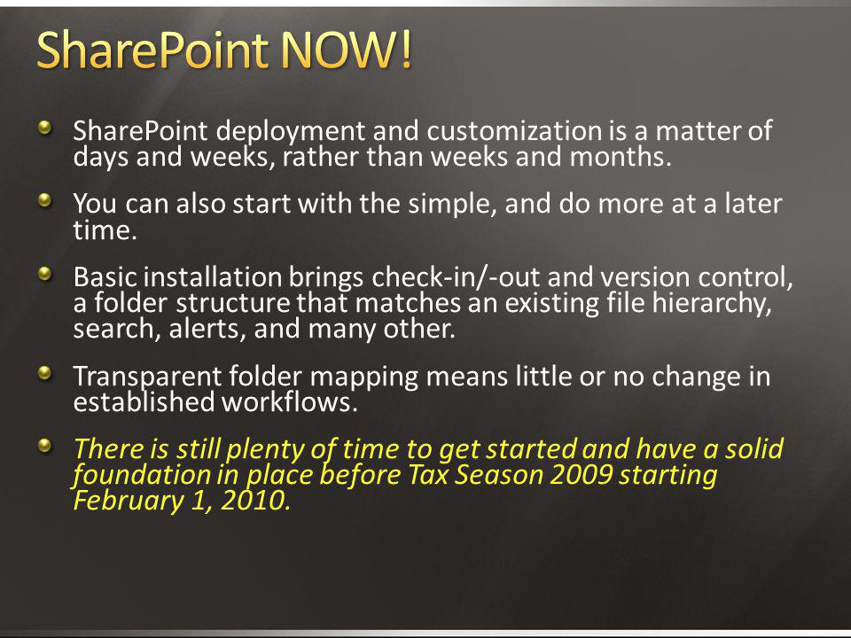 4/2/2017 3:11 AM SharePoint NOW! SharePoint deployment and customization is a matter of days and weeks, rather than weeks and months.