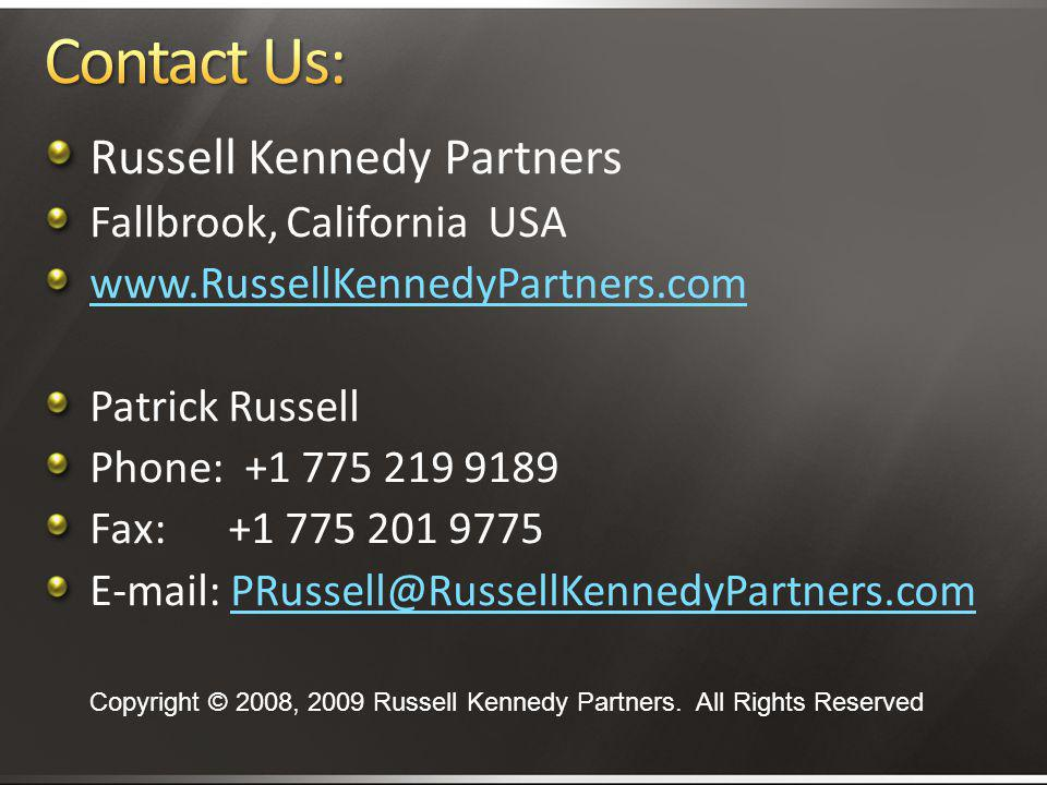 Contact Us: Russell Kennedy Partners Fallbrook, California USA