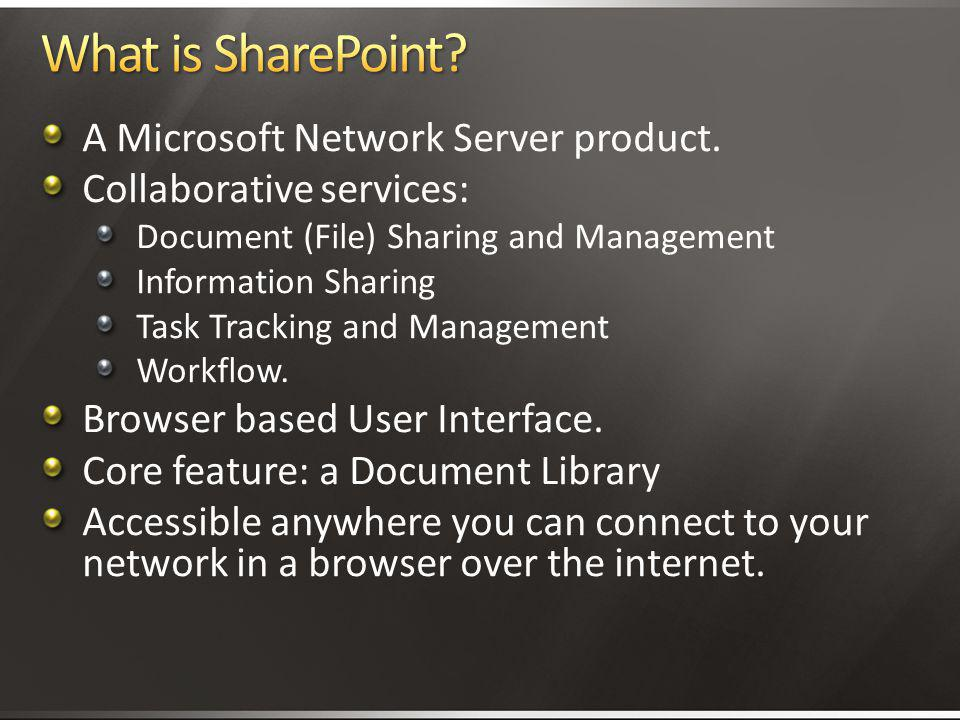 What is SharePoint A Microsoft Network Server product.