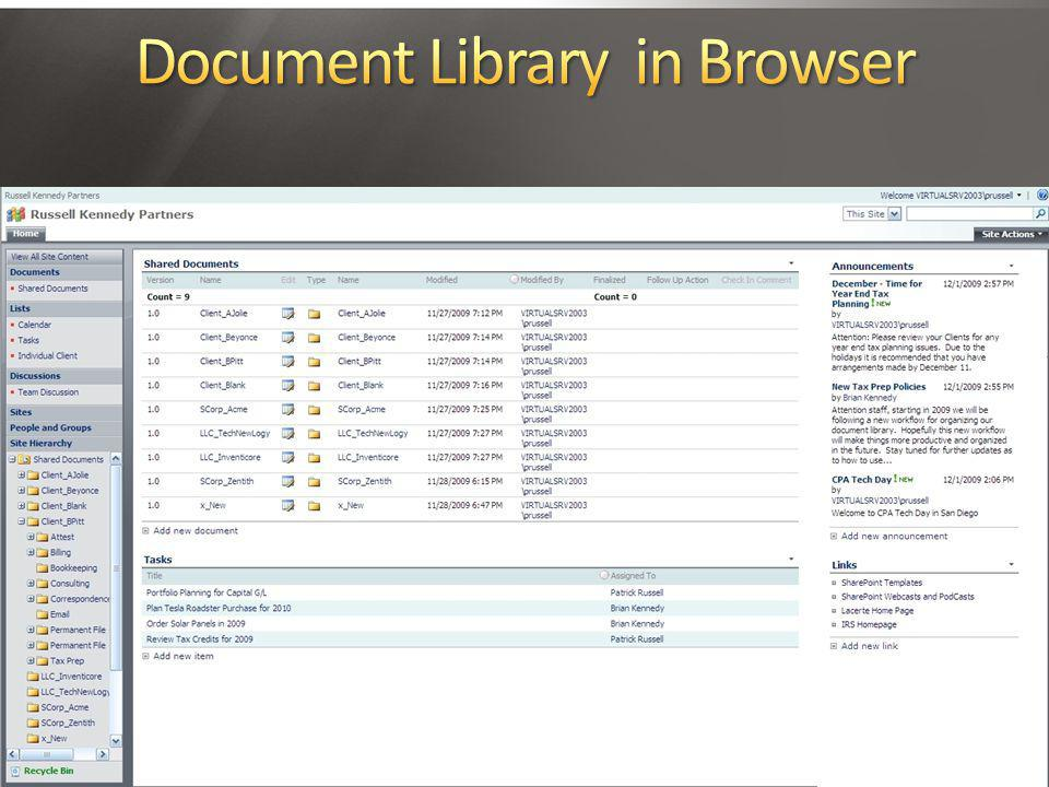 Document Library in Browser