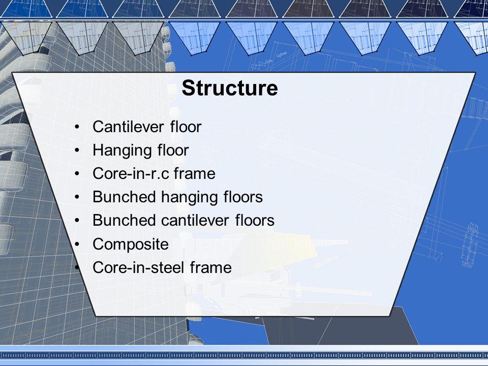 Structure Cantilever floor Hanging floor Core-in-r.c frame
