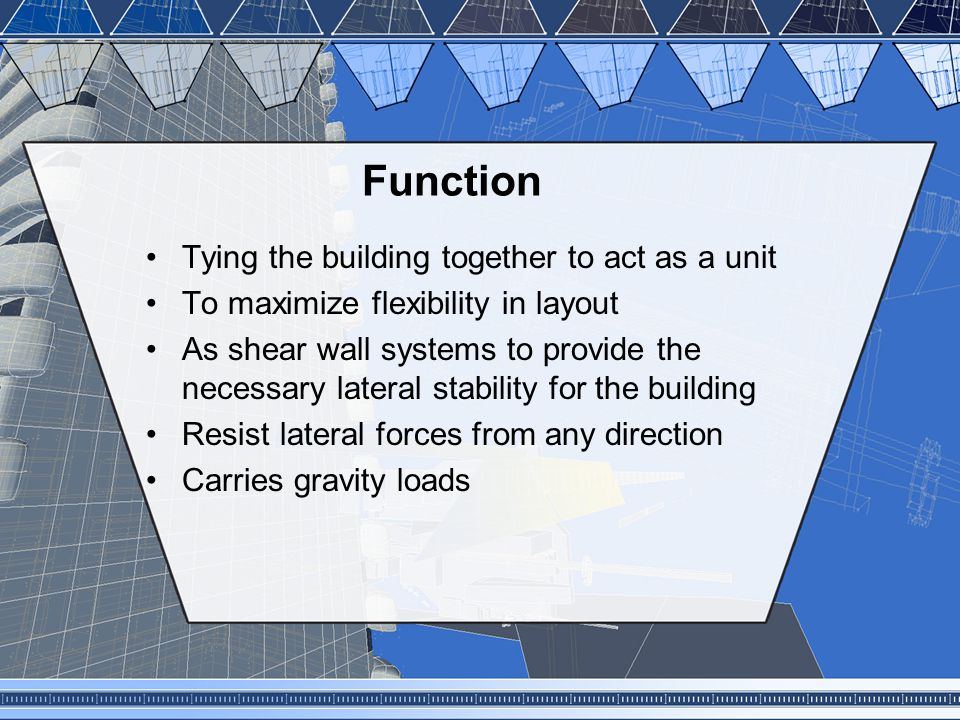 Function Tying the building together to act as a unit