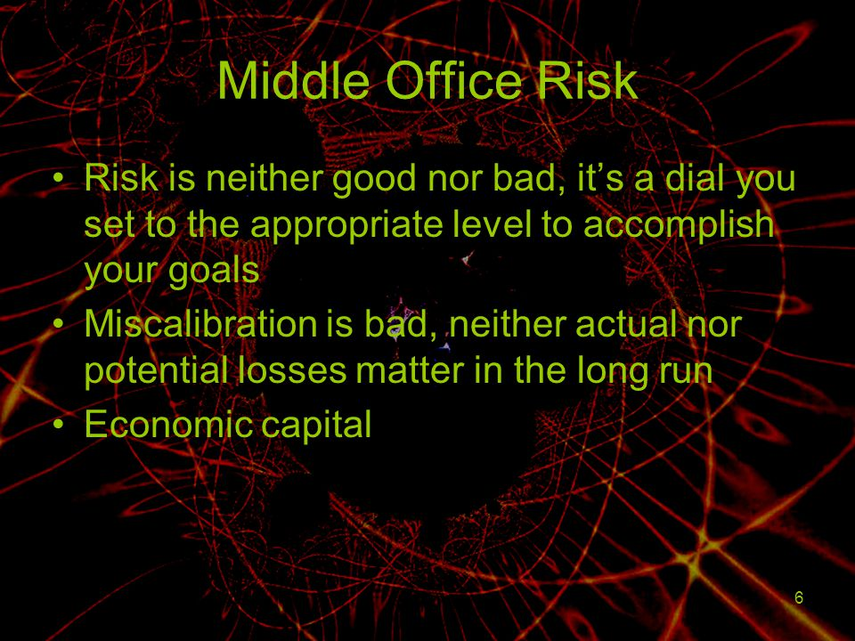 Middle Office Risk Risk is neither good nor bad, it's a dial you set to the appropriate level to accomplish your goals.