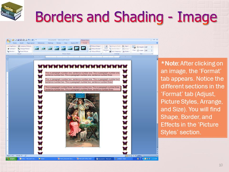 Borders and Shading - Image