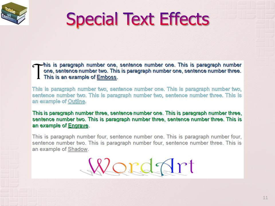 Special Text Effects A dropped capital letter, used at the start of a document or beginning of a new chapter.