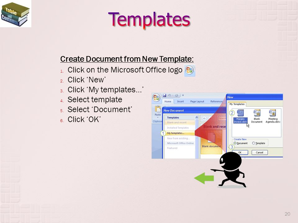 Templates Create Document from New Template: