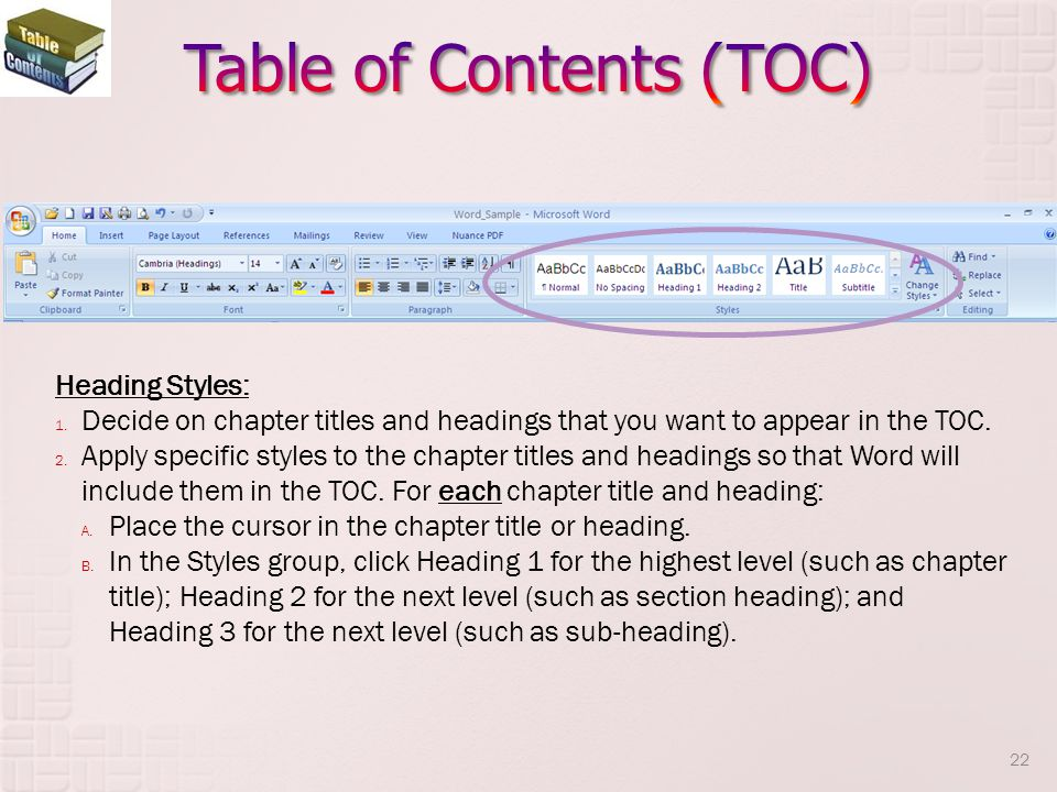 Table of Contents (TOC)