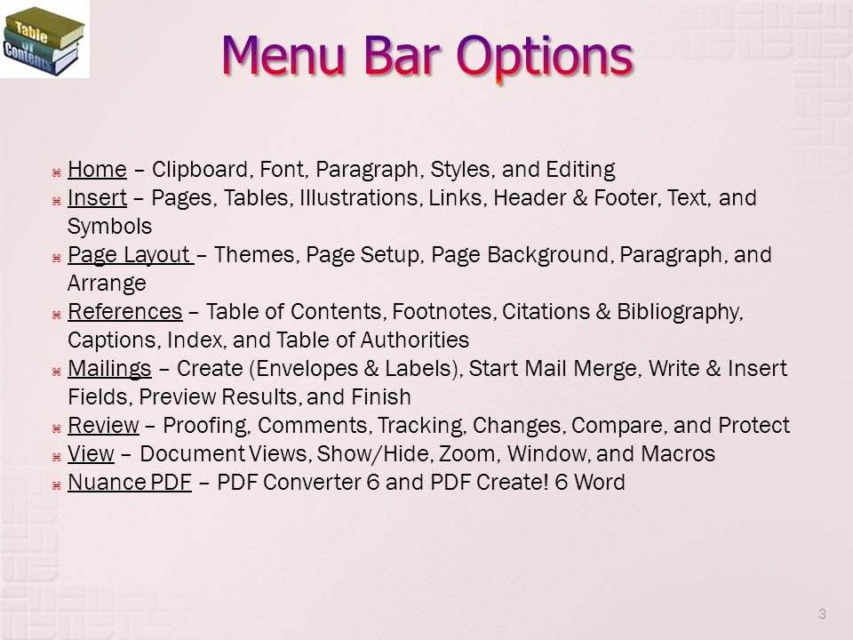 Menu Bar Options Home – Clipboard, Font, Paragraph, Styles, and Editing.