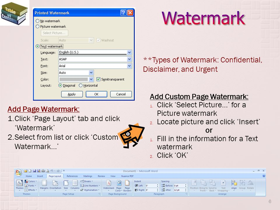 Watermark **Types of Watermark: Confidential, Disclaimer, and Urgent