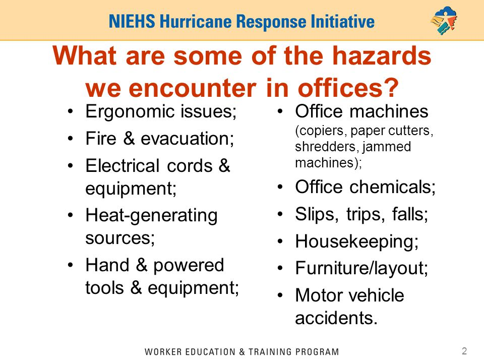 What are some of the hazards we encounter in offices