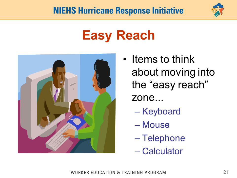 Easy Reach Items to think about moving into the easy reach zone...