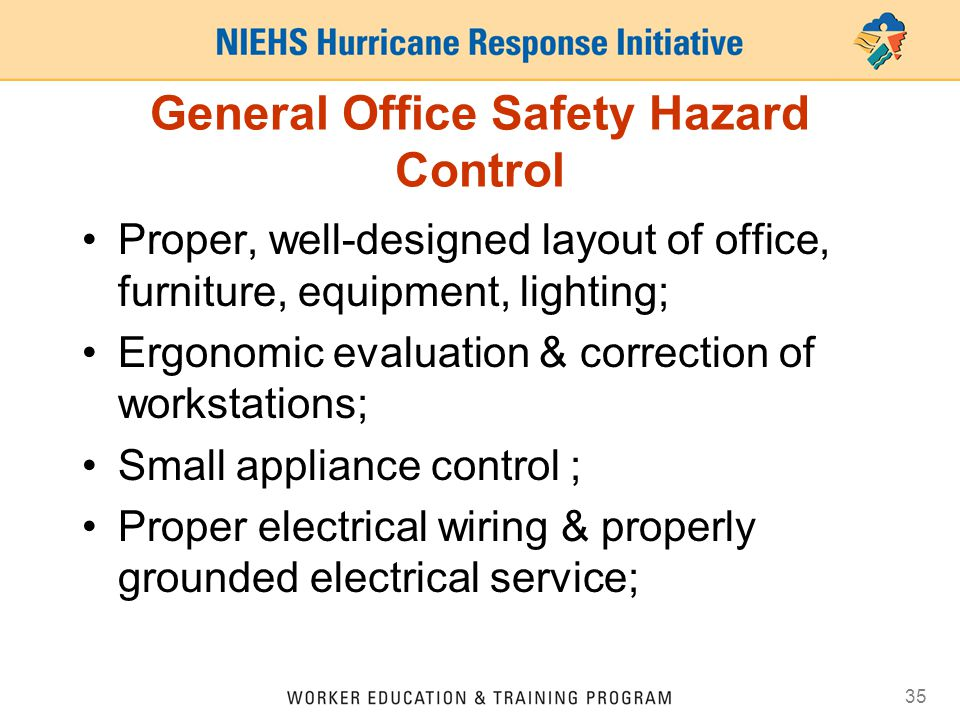 General Office Safety Hazard Control