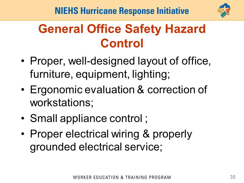 General Office Safety Hazard Control