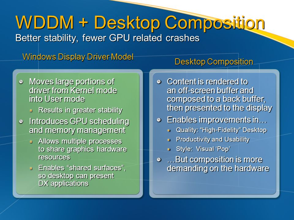 WDDM + Desktop Composition Better stability, fewer GPU related crashes
