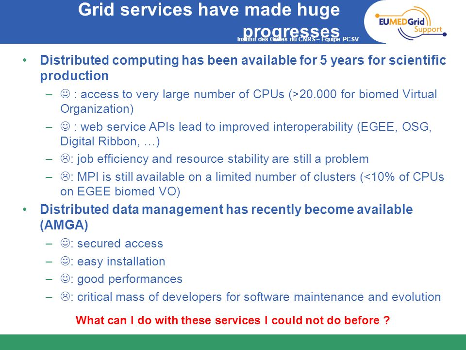 Grid services have made huge progresses