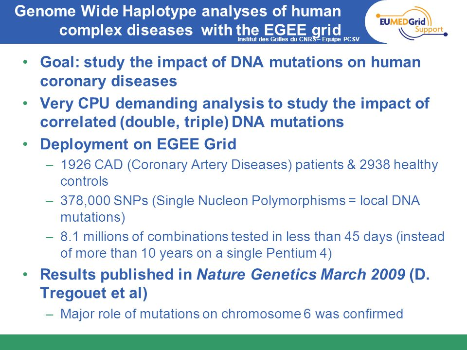 Goal: study the impact of DNA mutations on human coronary diseases