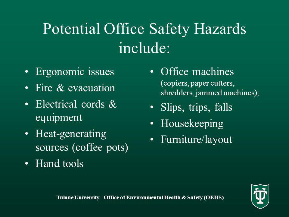 potential hazards to health safety and Safety, health and wellbeing biological hazards our role is to develop and assist in the implementation of the uwa safety, health and wellbeing programs in order to minimise the risk of injury, illness and property damage.