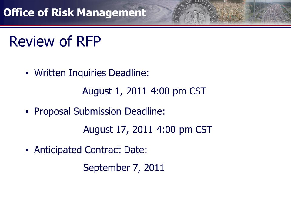 Review of RFP Written Inquiries Deadline: August 1, :00 pm CST