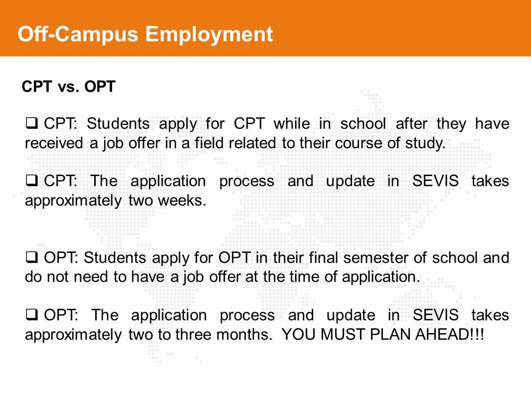 Off-Campus Employment
