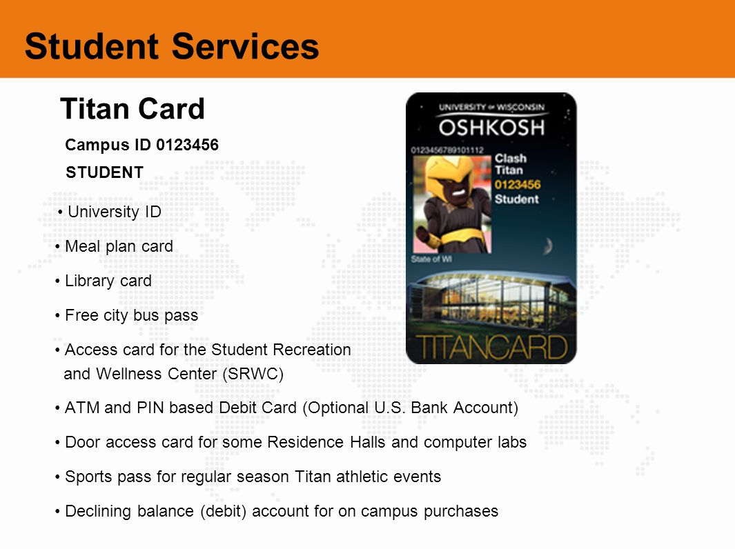 Student Services Titan Card Campus ID 0123456 STUDENT • Meal plan card
