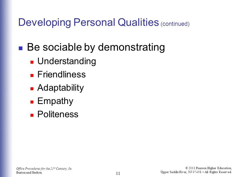 Developing Personal Qualities (continued)