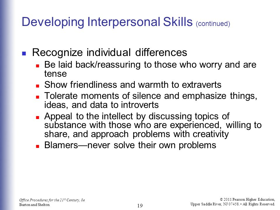 Developing Interpersonal Skills (continued)