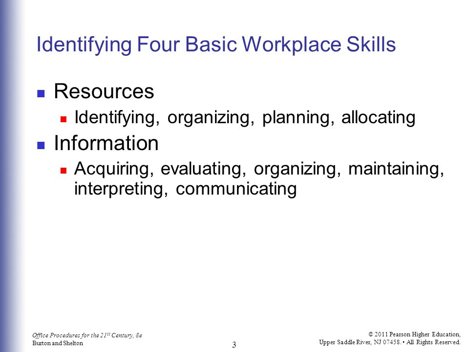 Identifying Four Basic Workplace Skills