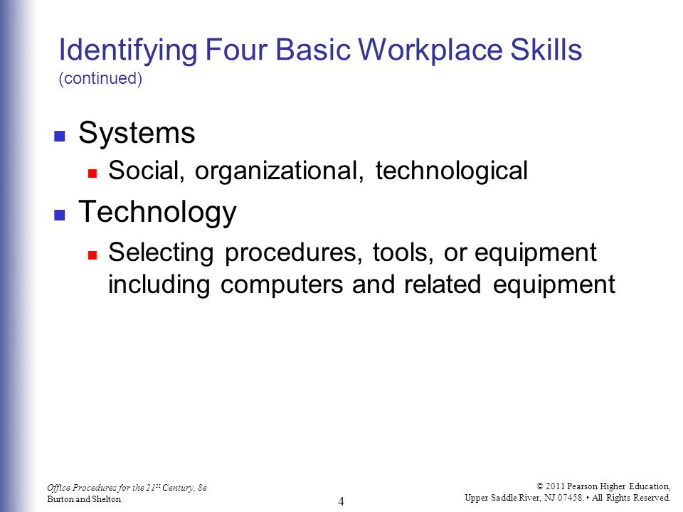 Identifying Four Basic Workplace Skills (continued)