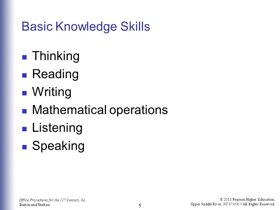 Basic Knowledge Skills