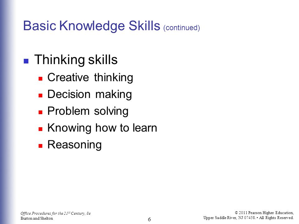 Basic Knowledge Skills (continued)