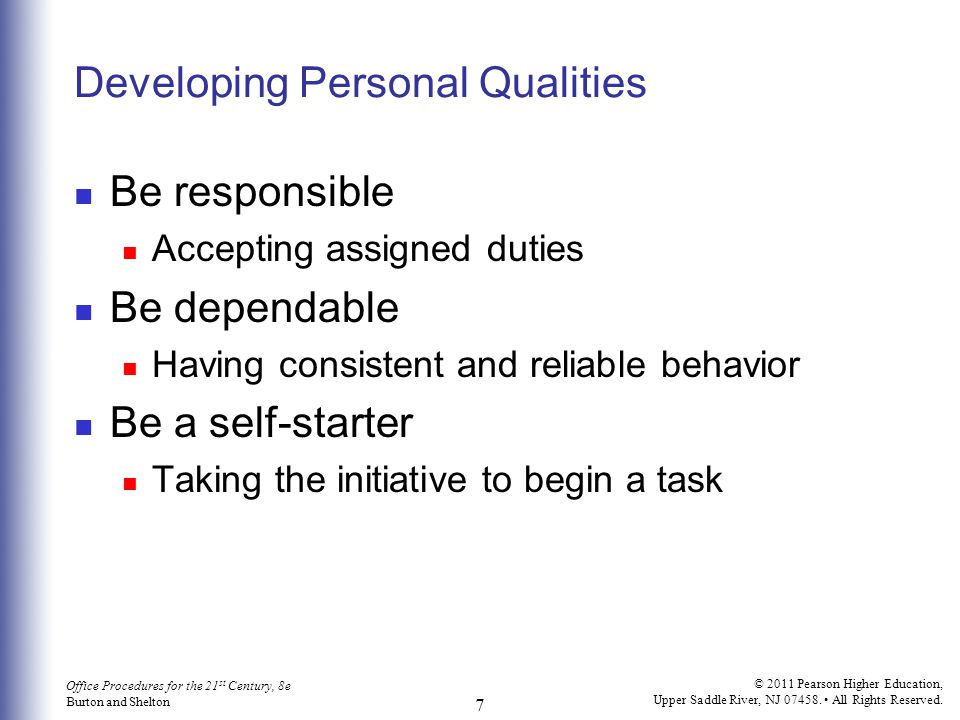 Developing Personal Qualities