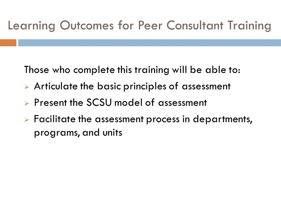 Learning Outcomes for Peer Consultant Training