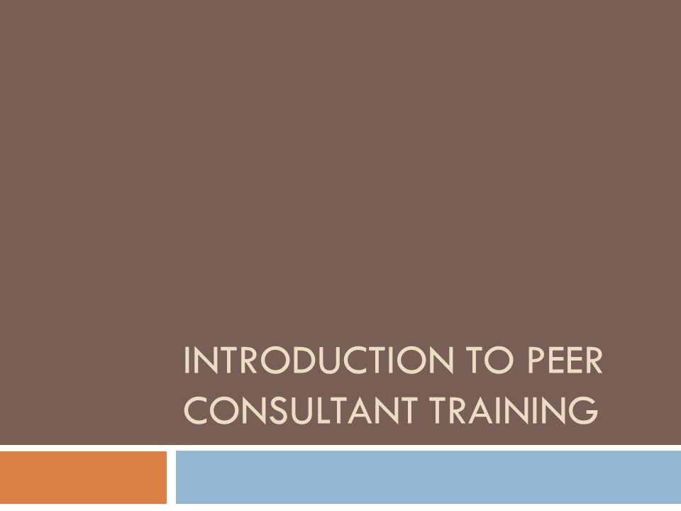 Introduction to Peer Consultant Training