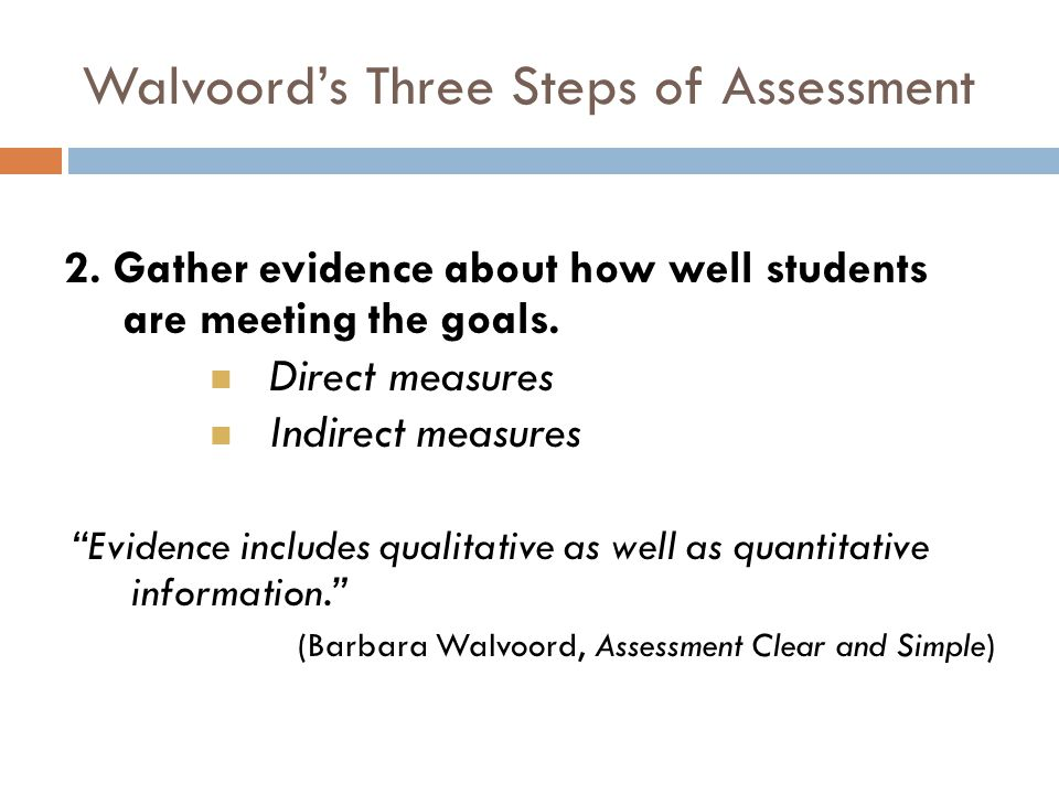 Walvoord's Three Steps of Assessment