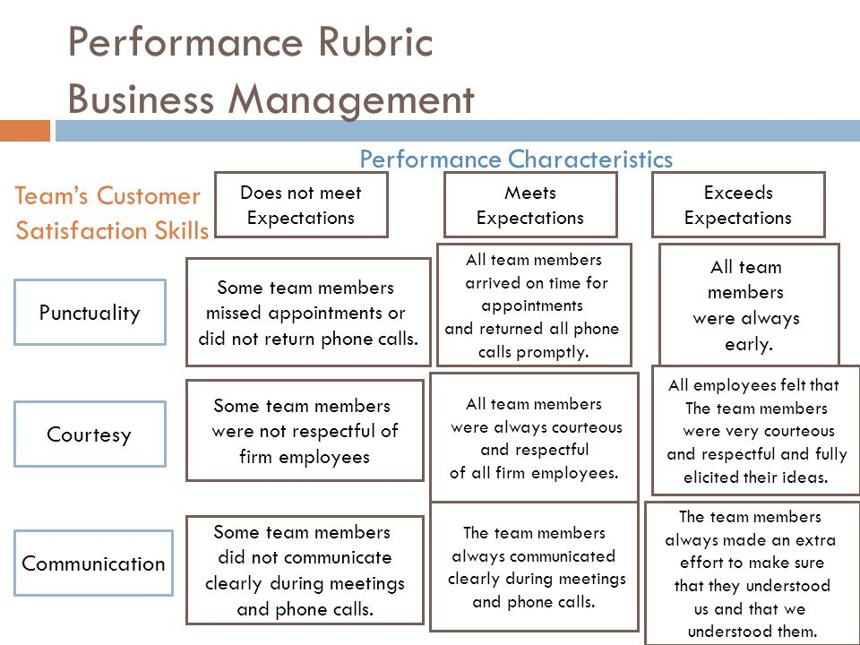 Performance Rubric Business Management