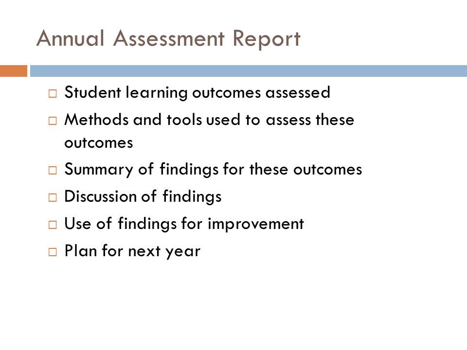 Annual Assessment Report