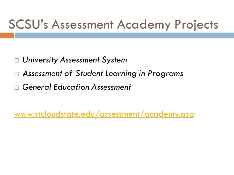 SCSU's Assessment Academy Projects